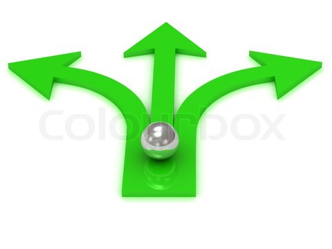 Three green arrows in different directions
